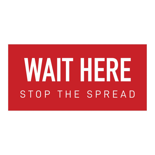 """Wait Here Floor Graphic 12 x 6"""" Red"""